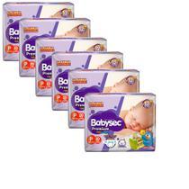 Kit 6 Fraldas BabySec GALINHA PINTADINHA Premium - P - 120 unids - Softys