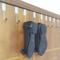 Kit 6 Gancho Sapateira Cabideiro Mancebo Cromado na Porta Organizador para Roupas Sapatos e Bolsa - Nacional
