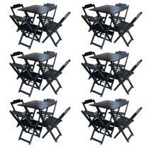 Kit 6 Jogos De Mesa Com 4 Cadeiras De Madeira Dobravel 60x60 Ideal Para Bar E Restaurante - Preto - Guará