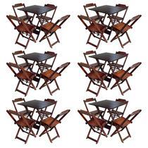 Kit 6 Jogos De Mesa Com 4 Cadeiras De Madeira Dobravel 70x70 Ideal Para Bar E Restaurante - Imbuia - Guará