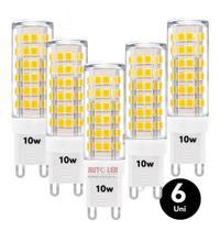 Kit 6 Lâmpada Led Luz Forte G9 10w P/ Arandelas E Lustres - Top Light