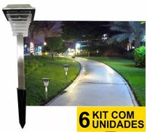 Kit 6 Luminária Solar jardim led branco balizador inox torre prova de água - Ecoforce