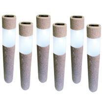 Kit 6 Luminária Solar jardim led branco balizador rustico prova de água - Ecoforce