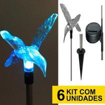 Kit 6 Luminária Solar jardim led branco beija flor 75 cm balizador inox chão prova de água - Ecoforce