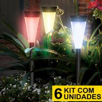 Kit 6 Luminária Solar jardim led colorido verde azul amarelo pvc balizador - Ecoforce