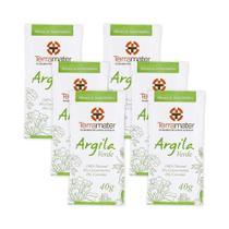Kit 6 Máscaras de Argilas Verde Orgânica 40g  Terramater -
