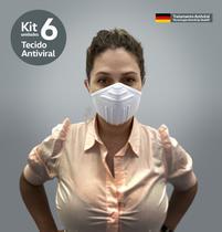 Kit 6 Máscaras Tecido AntiVirBac Filtragem Compatível N95 Lavável Anatômica Íons de Prata Branca - Brasilm