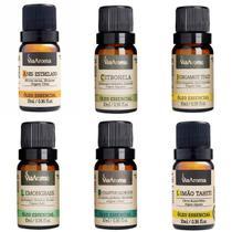 Kit 6 Óleos Essenciais 100% Naturais Via Aroma 10ml Para Aromaterapia -
