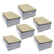 Kit 6 Organizadores Multiuso Porta Edredom Toalha Cobertor Guarda Roupas 45x45x20 cm - Nacional