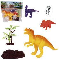 Kit 6 peças Dinossauro Incríveis e Acessórios - Wellmix