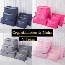 Kit 6 Peças Necessaire Bolsa Organizador De Mala Para Viagem Cinza Preto - Clock