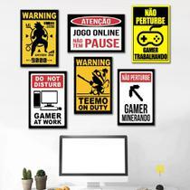Kit 6 Placas Decorativas Gamer - Arte Quadro