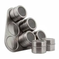Kit 6 Porta Condimento Inox Tempero Magnético Imã Geladeira - Amvshop7