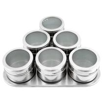Kit 6 Porta Condimento Inox Tempero Magnético Imã Geladeira - Clink