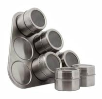 Kit 6 Porta Condimento Inox Tempero Magnético Imã Geladeira - Tem Tudo