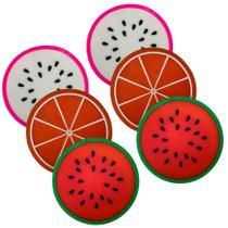 Kit 6 Porta Copos Formato De Fruta Suporte Descanso Laranja, Melancia E Pitaya - Universal Vendas