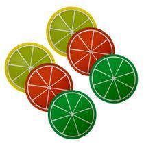 Kit 6 Porta Copos Formato De Fruta Suporte Descanso Laranja, Siciliano E Taiti - Universal Vendas
