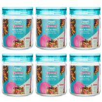Kit 6 Potes de Vidro Herméticos 650ml Porta Mantimentos Cozinha Com Tampa Azul - Sanremo