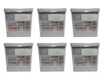 Kit 6 Potes Herméticos 1300ml Retangulares Transparente Acrílico Empilhável Veda Conserva Porta Jogo - Lumini