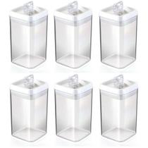Kit 6 Potes Herméticos 2,3 Litros Crystal Injeplastec Alta Vedação -