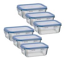 Kit 6 potes vidro retangular com tampa hermética livre de BPA -
