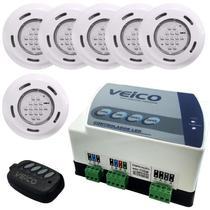 Kit 6 Refletores LED + Painel Controlador LED 6 24W c/ 2 Saídas Auxiliares para Piscina Veico Fluidr - Fluidra
