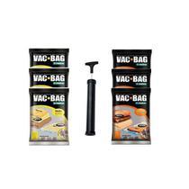 Kit 6 Sacos a Vácuo VAC BAG Ordene 3 Médio + 3 Grande + Bomba -