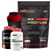Kit 6 Six Protein 2kg Cookies & Cream + BCAA 4,5 100g + 100% Creatine 100g + Coqueteleira  Bodybuilders -