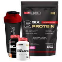 Kit 6 Six Protein 2kg Morango + BCAA 4,5 100g + 100% Creatine 100g + Coqueteleira  Bodybuilders -