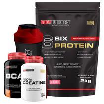 Kit 6 Six Protein 2kg Tutti-Frutti + BCAA 4,5 100g + 100% Creatine 100g + Coqueteleira  Bodybuilders -