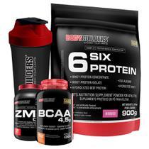 Kit 6 Six Protein 900g Morango + BCAA 4,5 100g + ZMA Drol 120 Cápsulas + Coqueteleira  Bodybuilders -