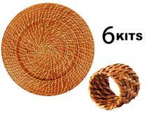 Kit 6 Sousplat Redondo e 6 Anéis para Guardanapos - Rattan Claro - MUNDIART