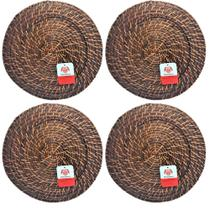Kit 6 sousplat redondo rattan e bambu marrom escuro - MUNDIART