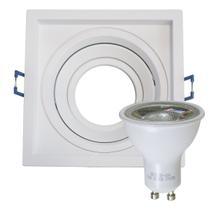 kit 6 spot recuado orientável alumínio embutir gesso madeira modular + 6 lâmpada led gu10 MR16 6w 3000k st4716 - Starlumen