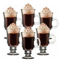 Kit 6 tacas de cappuccino cafe chocolate xicara vidro com alca luxo caneca dolce gusto conjunto 230ml - GIMP
