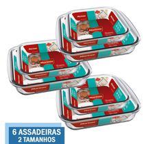 Kit 6 Travessas Assadeira Vidro 2 Tamanhos 1,1L 1,8L Marinex - Nadir Figueiredo