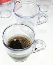 Kit 6 Xícara Pequena 50ml Café Cafézinho Cristal - Plástico Acrílico - Flash_Envios