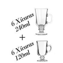 Kit 6 Xícaras 120ml + 6 240ml Dolce Gusto - Caneca Capuccino - Crisal
