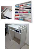 KIT 60cm Mesa P/ Manicure+expositor+compartimento de esmaltes - Loja Straub