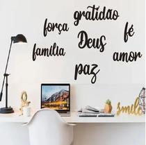 Kit 7 Apliques Palavras Gratidão Familia Amor Fe Deus força Paz Motivacional - Mongartedecor