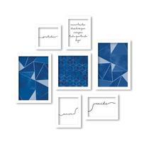 Kit 7 Quadros Decorativos Frases e Arte Moderna Azul - Los quadros