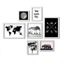 Kit 7 Quadros Grande LosQuadros Mapa Mundial Vai Com Fé - Los quadros