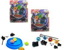 Kit 8 Beyblade Metal Led + 4 Lançador + 2 Arena Tornado - Lianfa Toys