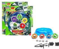 Kit 8 Beyblade Metal Led + 4 Lançador + 2 Arena Tornado - Linfa Toys