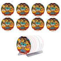 Kit 8 Bolachas Porta Copos Simpsons Em Plástico Com Suporte - Art Print
