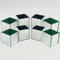 KIT 8 Cachepot Espelhado Quadrado Cubo 6cm 5001K8 LylHome -