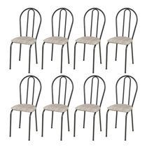 Kit 8 Cadeiras 004 Cromo Preto/Rattan - Artefamol -