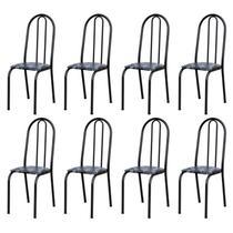 Kit 8 Cadeiras 050 América Cromo Preto/Florido - Artefamol -