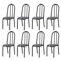 Kit 8 Cadeiras 056 América Cromo/Preto Listrado - Artefamol -