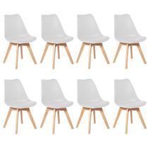 Kit 8 Cadeiras Leda Branco Couro PU Cozinha Sala de Estar Jantar Mesa de Jantar Área de Lazer Recepção Polipropileno - Liga E-Commerce